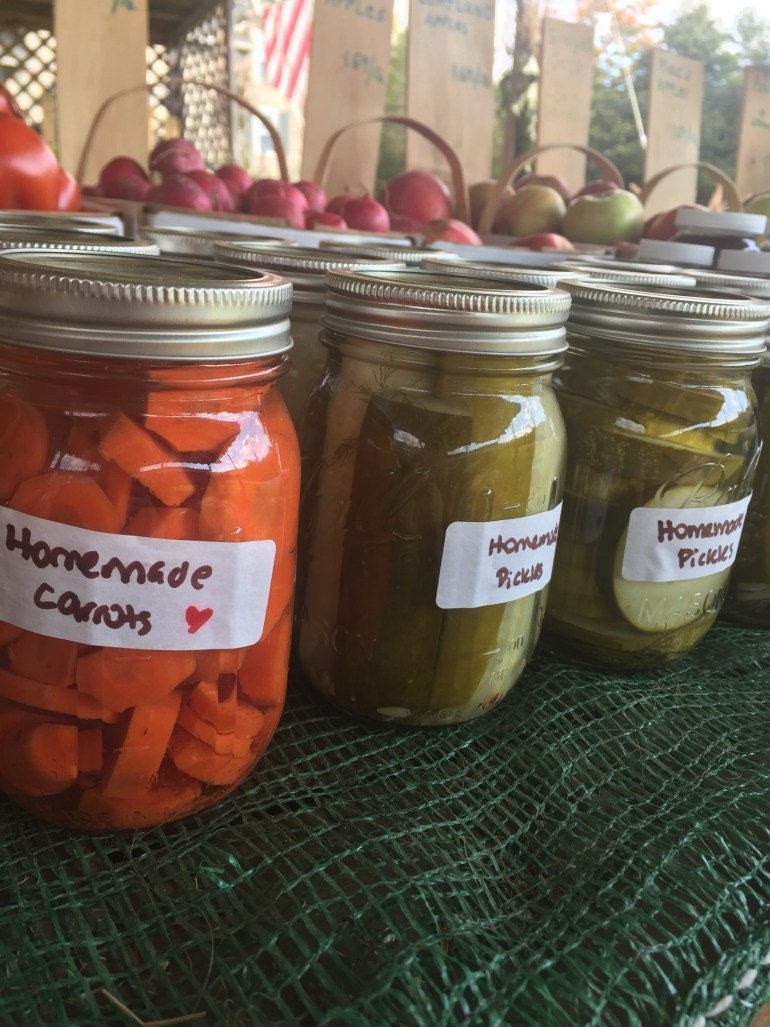 pickled jars of carrots and cucumber homemade
