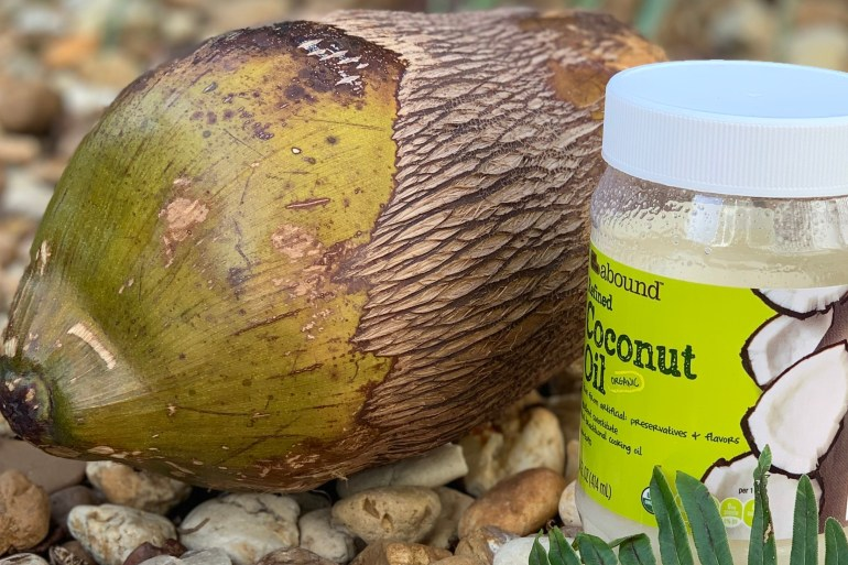 Coconut oil with a coconut