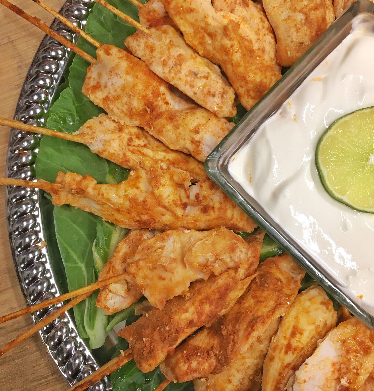 Chicken Skewers with Lime-Cream Sauce