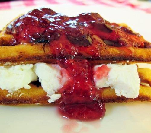 Cranberry Hot Pepper Jelly Waffle Sandwich
