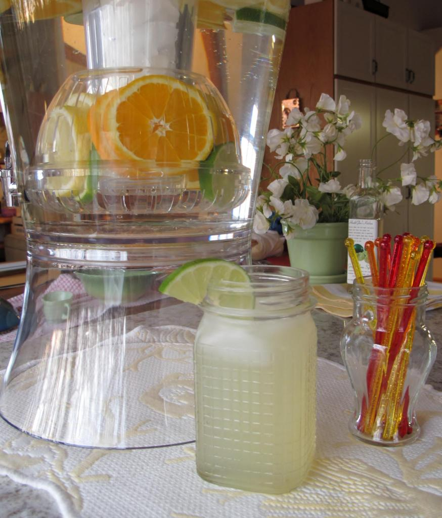 Citrus water pitcher with Ginger Lime Syrup Drink