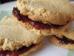Peanut Butter and Raspberry Chambord Jam Cookies