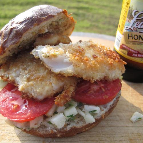 Fish sandwich with Jerk Jicama-Tomatillo Slaw