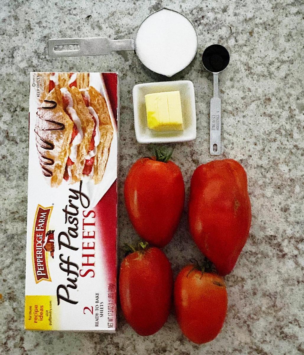 Ingredients for making Caramelized Tomato Tarte Tatin