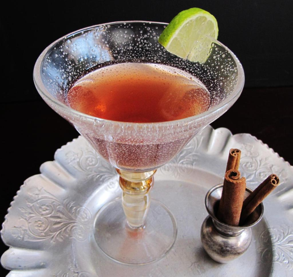 Martini made with Plum Orange Cinnamon Shrub Syrup