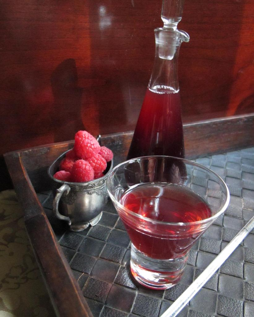 Raspberry Martini made with raspberry shrub syrup