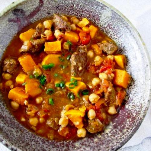 Moroccan Beef and Sweet Potato Stew made in a dutch oven instead of tagine