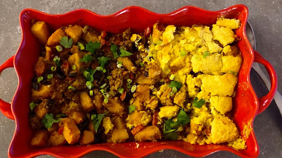 Harissa Tamale Pie, with half of it low carb