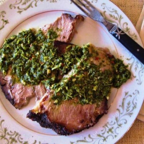 Beef brisket topped with Chimichurri sauce