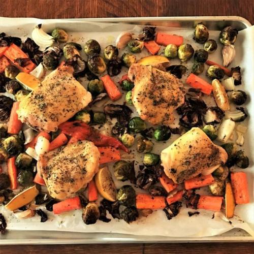 Sheet-pan dinner with chicken & veggies
