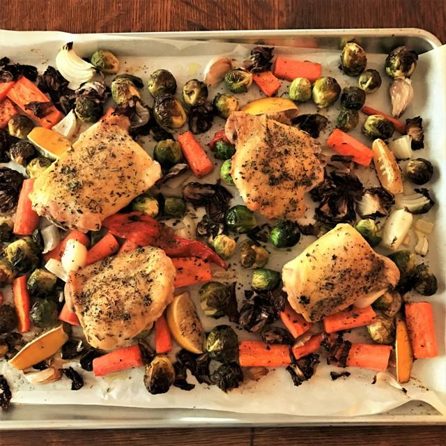 Sheet-pan dinner with chicken & veggies