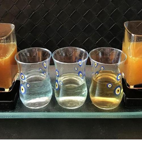 Tequila flight with two Sangritas