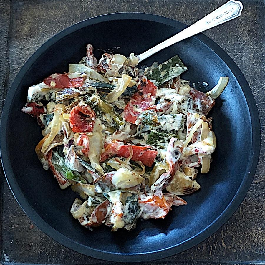 Low Carb Rajas Poblano in a bowl