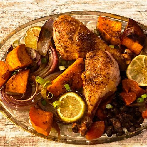 Low carb sheet pan dinner with jerk chicken