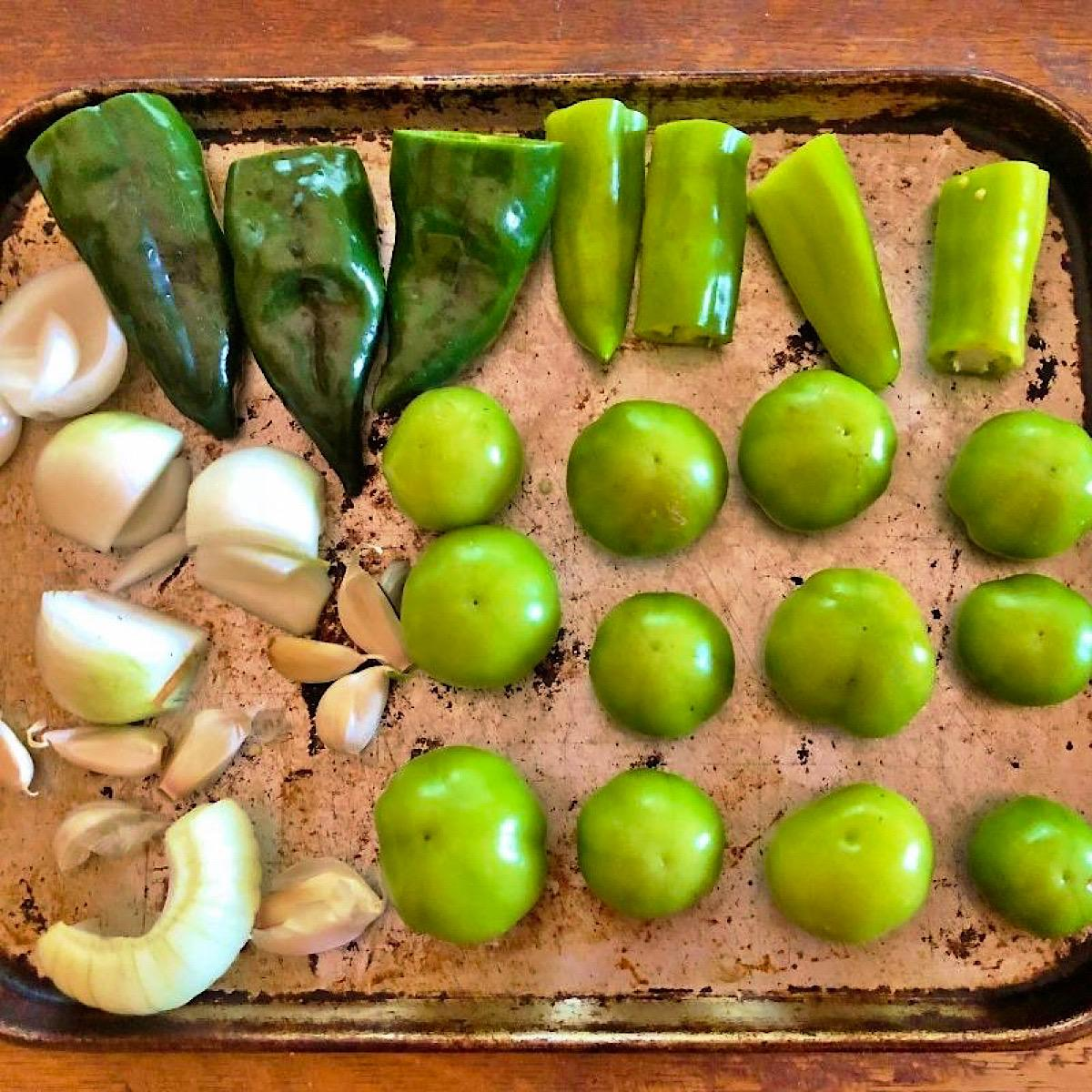 Prep tray of vegetables used to make chile verde sauce