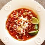Bowl of low carb Mexican noodle soup - Fideo