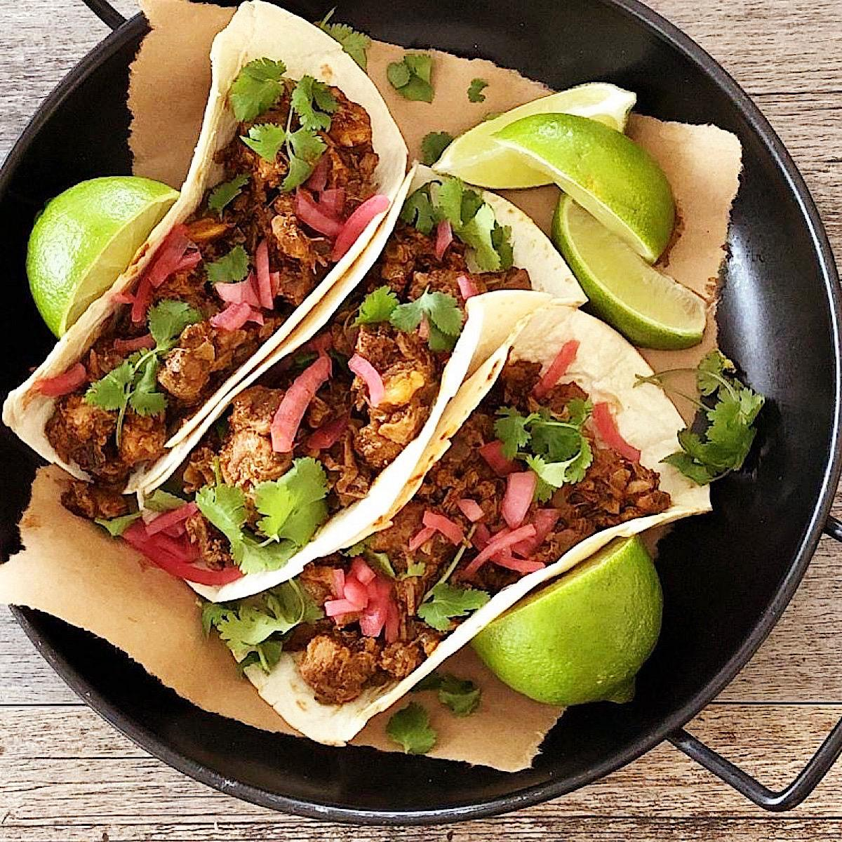 Low carb tacos made with slow cooked pork shoulder