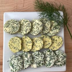 Herbal compound butter coins as way to preserve fresh herbs