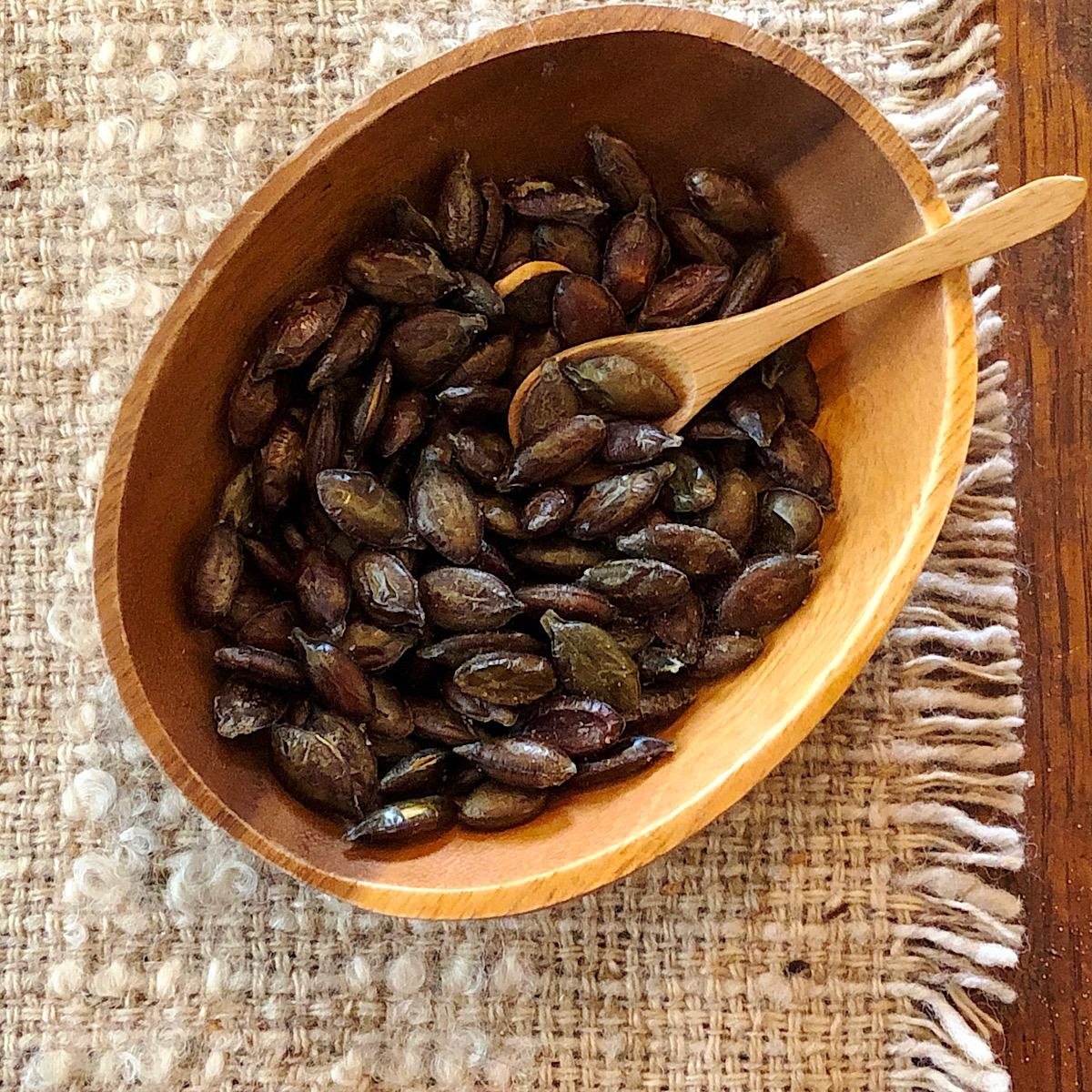 Bowl of roasted seeds from heirloom squash