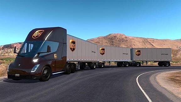 Tesla Electric UPS Feeder Truck Artist Rendition