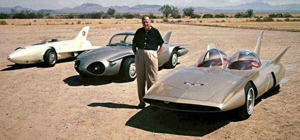 Harley Earl with GM Firebirds