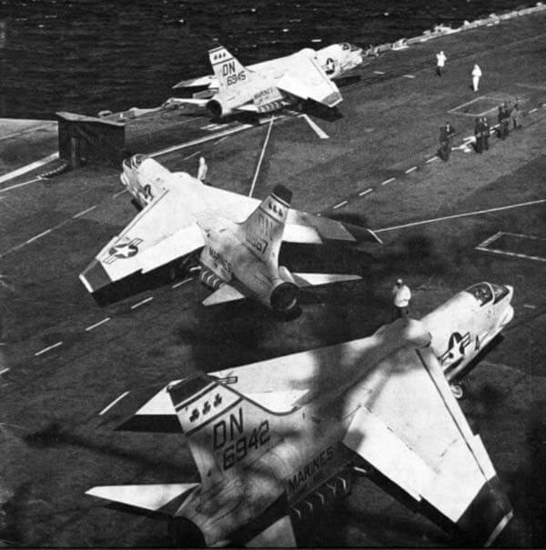 VMF-333 F-8 Crusader Aircraft Carrier Takeoff