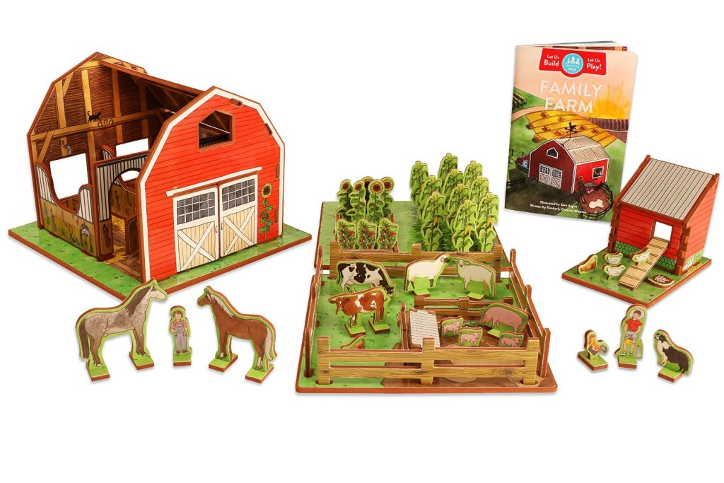 Farm Playset with Barn, Animals, Pasture, Crops, Chicken Coop and Storybook