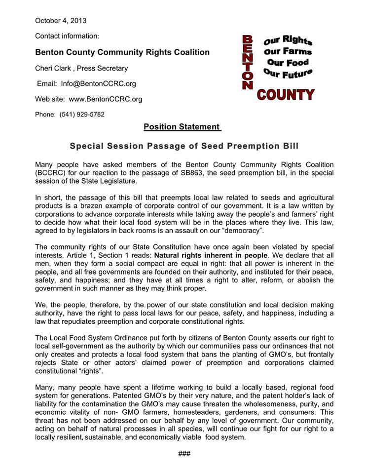 Benton County Statement