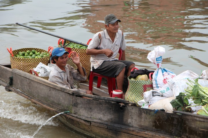 Crossing the Vietnam-Cambodia border on a Mekong River fast ferry.