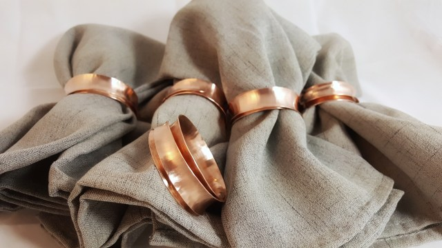 Napkin rings around napkins