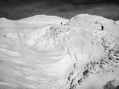 Icy and windblown conditions on Mt. Bachelor, Oregon.