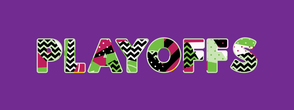 "Block letters with festive accents reading ""PLAYOFFS"" over purple background"