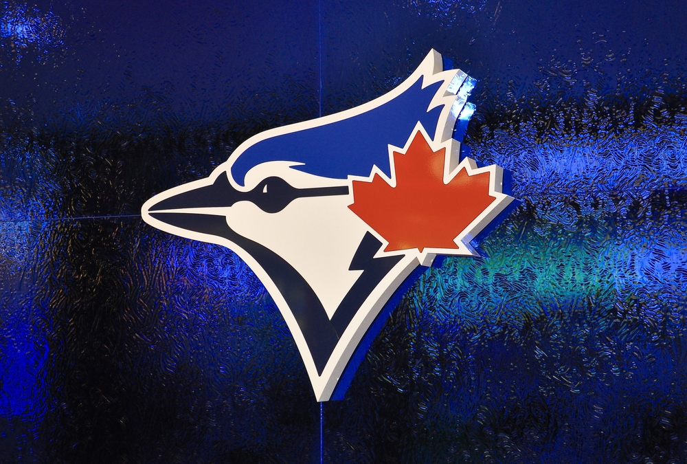 Sign of Blue Jays at store in Eaton Centre Toronto.