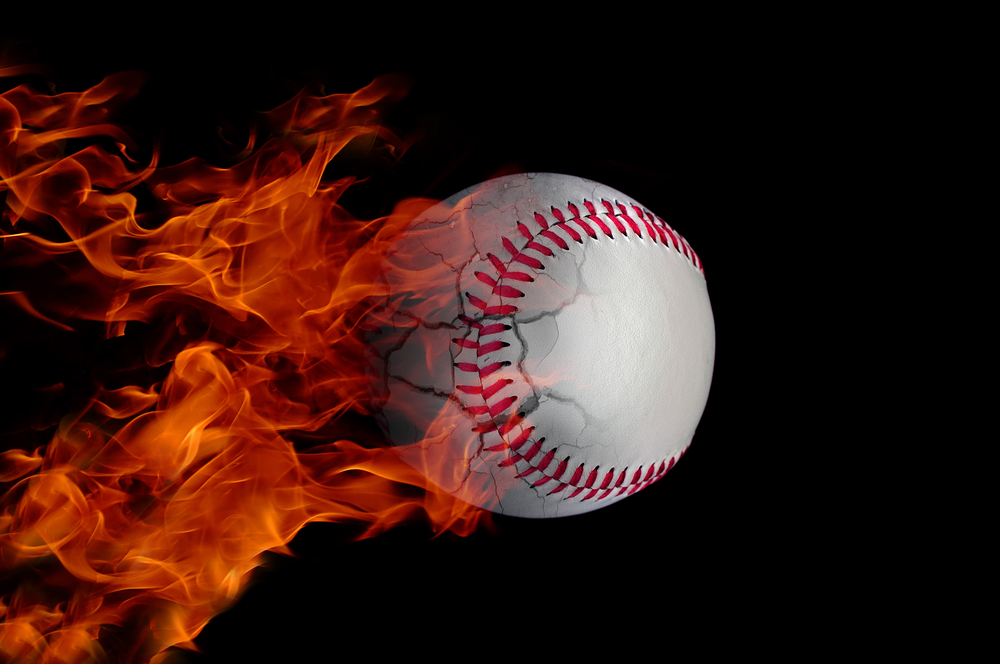 Baseball bursting into flame as it travels