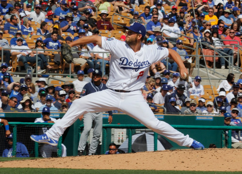 Clayton Kershaw delivering to plate