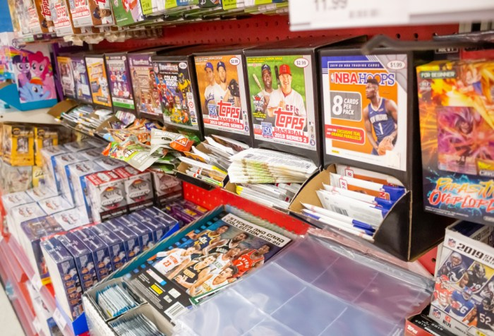 A view of a several brands of sports trading cards on display at a local department store.