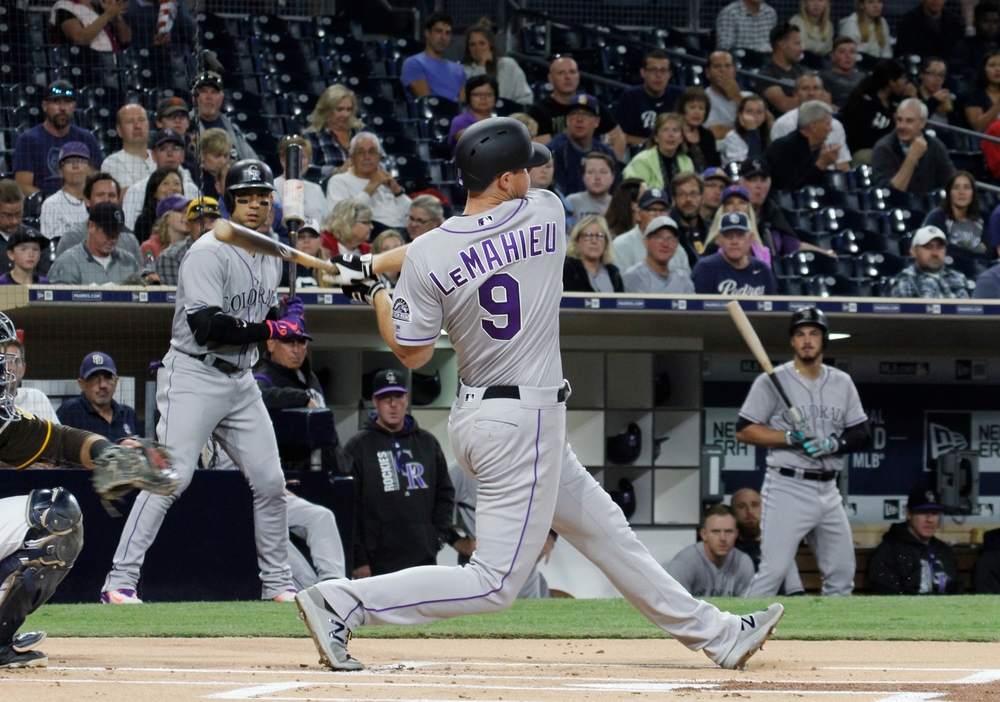 DJ LeMahieu 2nd baseman for the Colorado Rockies at Petco Park in San Diego California USA September 21,2017.