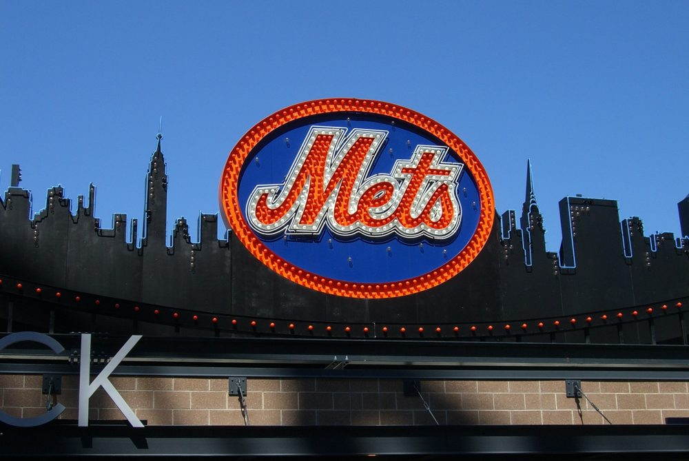 Classic New York Mets logo, carried over to Citi Field from old Shea Stadium, on top of the Shake Shack on April 5, 2009 in New York.