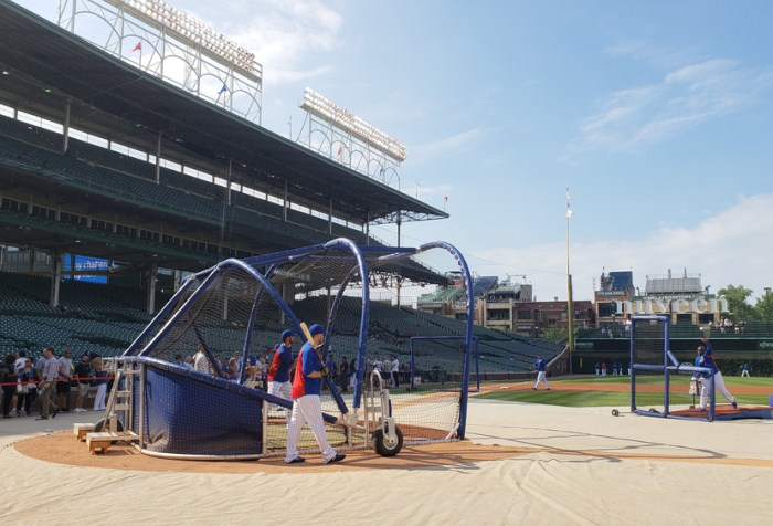 Kris Bryant squares to bunt during batting practice before a game between the Arizona Diamondbacks and Chicago Cubs at Wrigley Field.