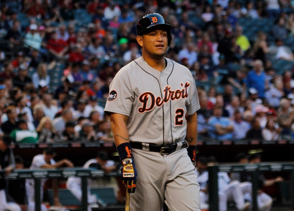 Miguel Cabrera, 1st baseman for the Detroit Tigers, standing with bat in hand at Chase Field in Phoenix. AZ. USA June 9, 2017.