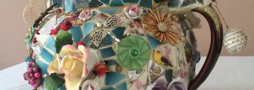 memory jug-pique assiette-mosaics-Capodimonte