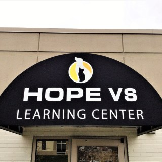 Hope Veterinary Specialists Learning Center custom branded marquee awning
