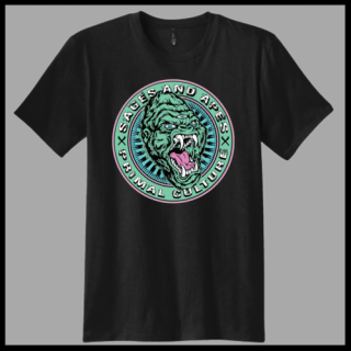 Sages & Apes custom branded tee shirt with gorilla head logo