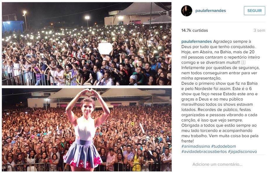 Post de Paula Fernandes sobre show na Bahia - Foto: Instagram