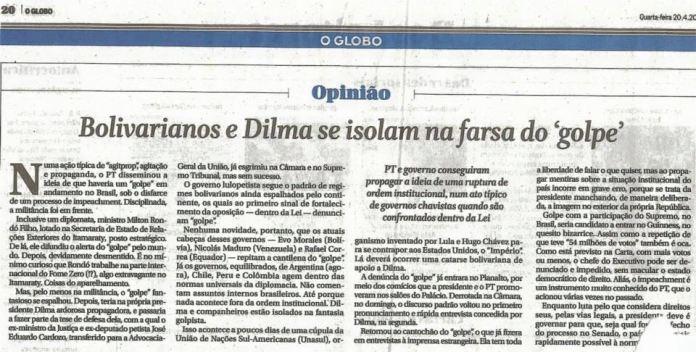"""O jornal """"O Globo"""" apela e volta ao clima """"a democracia voltou"""" de editorial de 1964 para justificar a tentativa de golpe em 2016"""