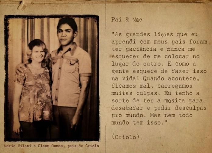 """Os pais de Criolo, em página de revista lançada com o álbum """"Espiral de Ilusão"""""""