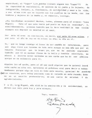 Carta de Gamoneda a LM Rabanal / 2.
