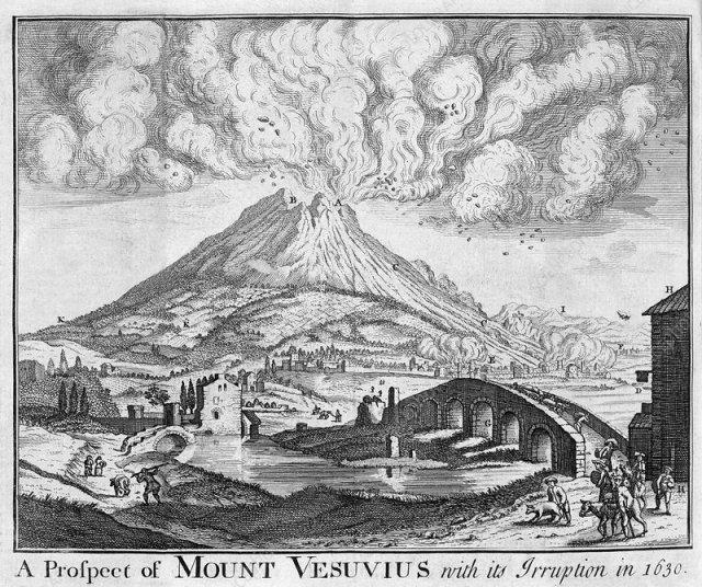 MONTE VESÚVIO - Placa gravada representando a erupção do Monte Vesúvio, a cerca de 9 km de Nápoles, no centro da Itália. Ele esteve ativo em várias ocasiões, a mais famosa em 79 DC, quando destruiu Pompeia. Uma erupção muito grande em 1631 matou mais de 3.000 pessoas. Esta gravura foi publicada pela primeira vez na Gentleman's Magazine em 1780. Imagem de Science Photo Library