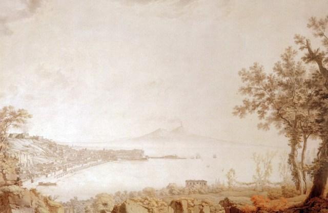AQUARELA DE GOETHE RETRATANDO A ERUPÇÃO DO VESÚVIO (1787). Imagem de goethezeitportal.de