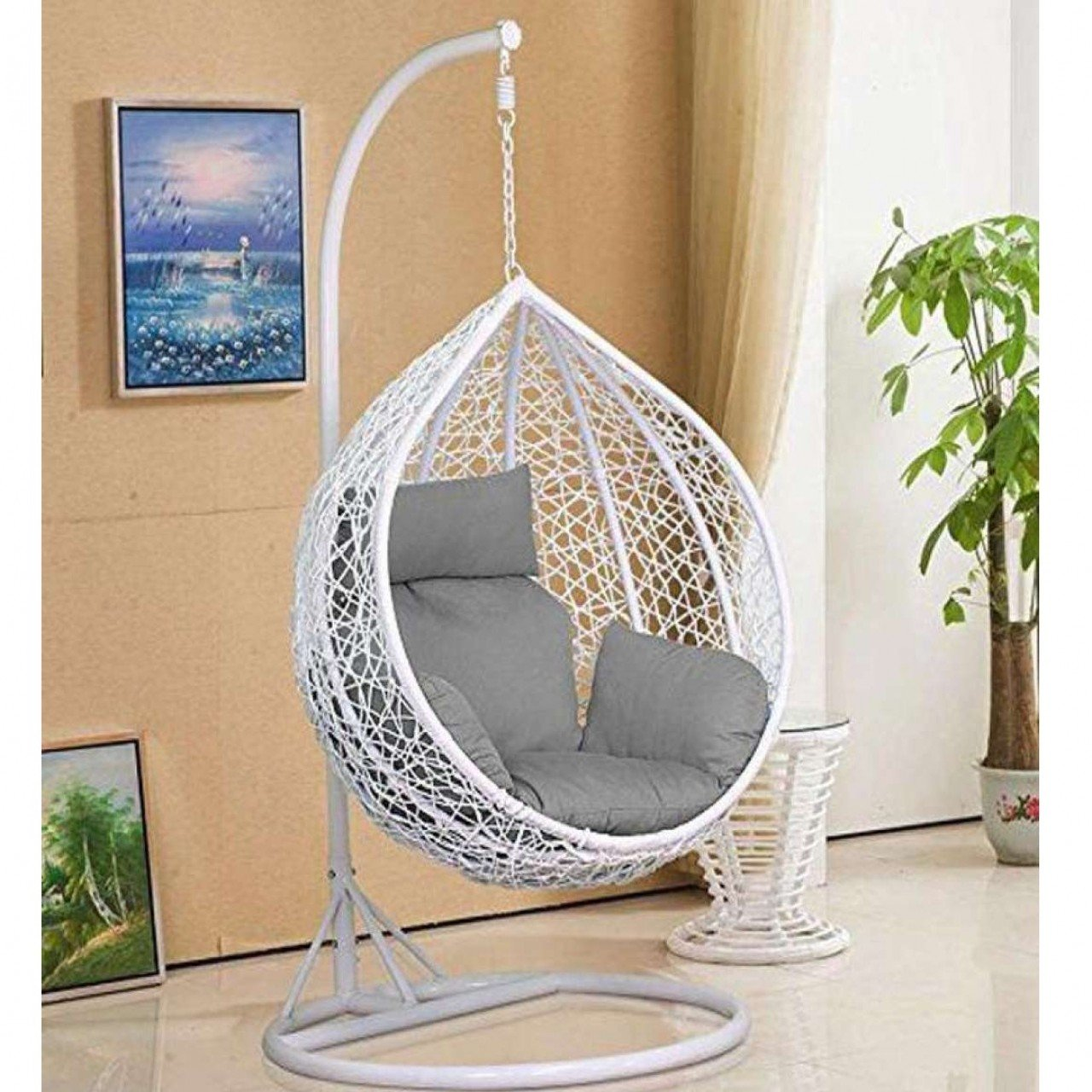 Indoor Hanging Chair With Stand Egg Shape Hanging Swing Chair Jhoola Stand Cushion For Adult White Use Garden Indoor Outdoor